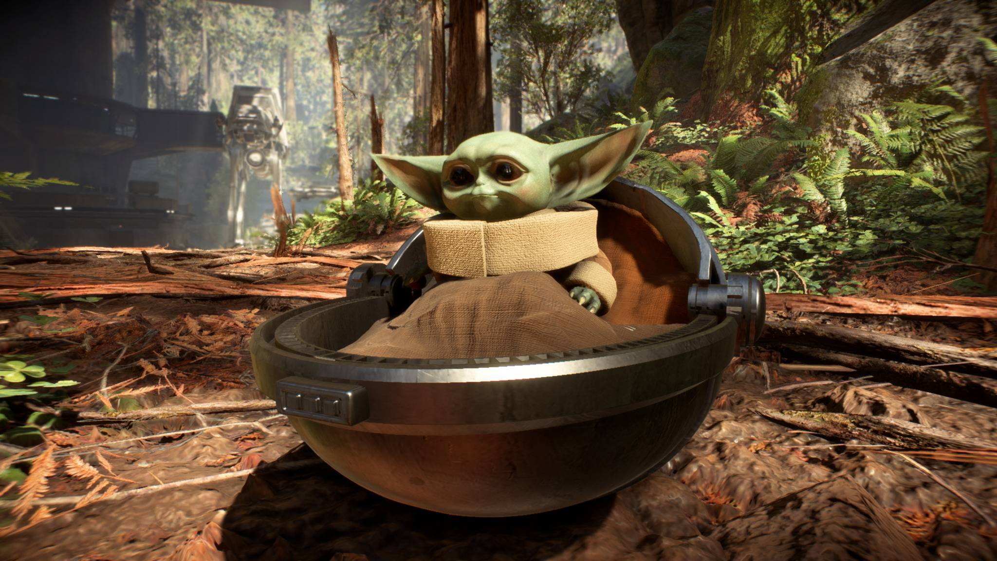 "Baby Yoda in ""Star Wars: Battlefront 2""."