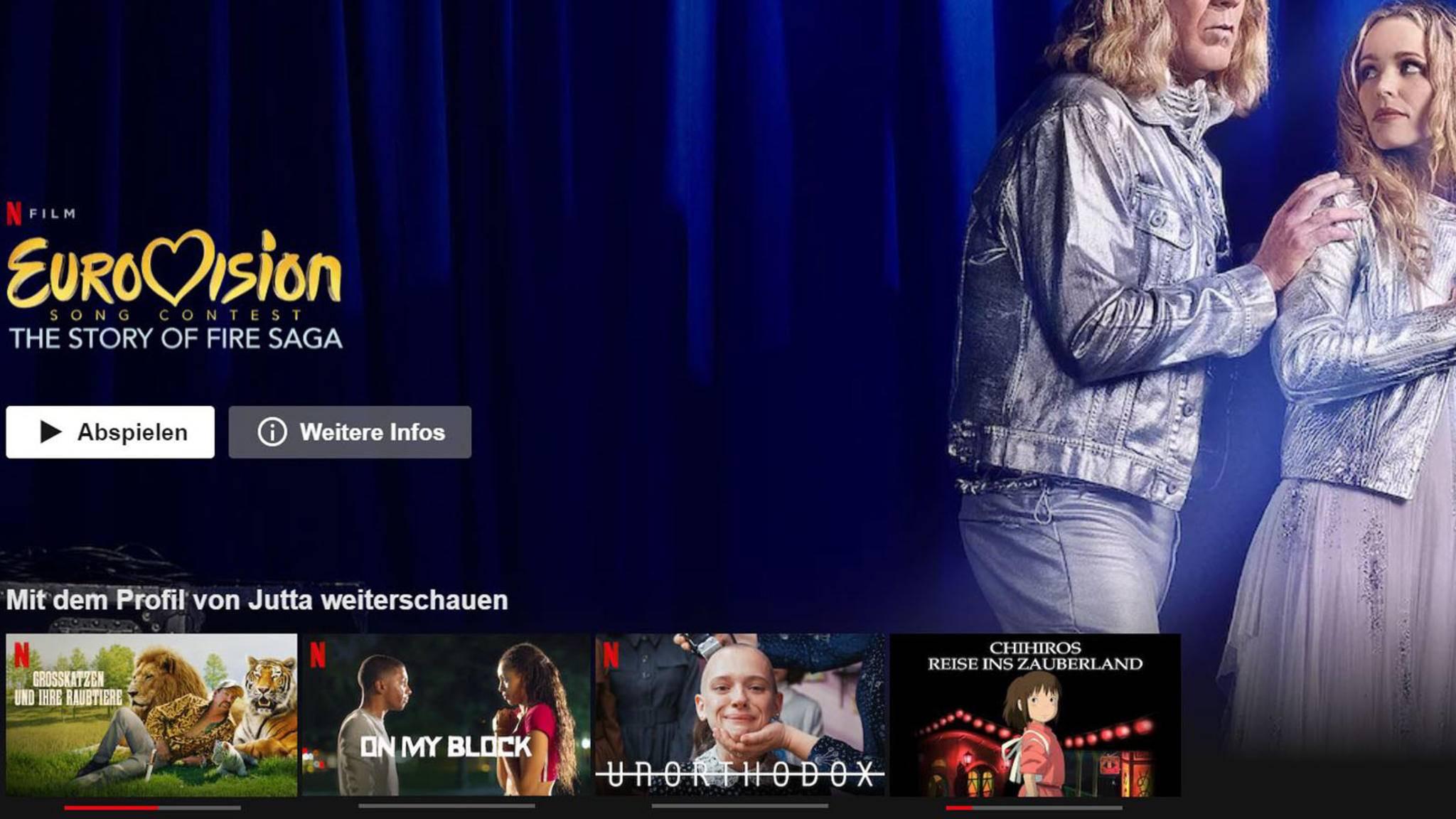 Netflix Startseite Weiterschauen-Liste Screenshot