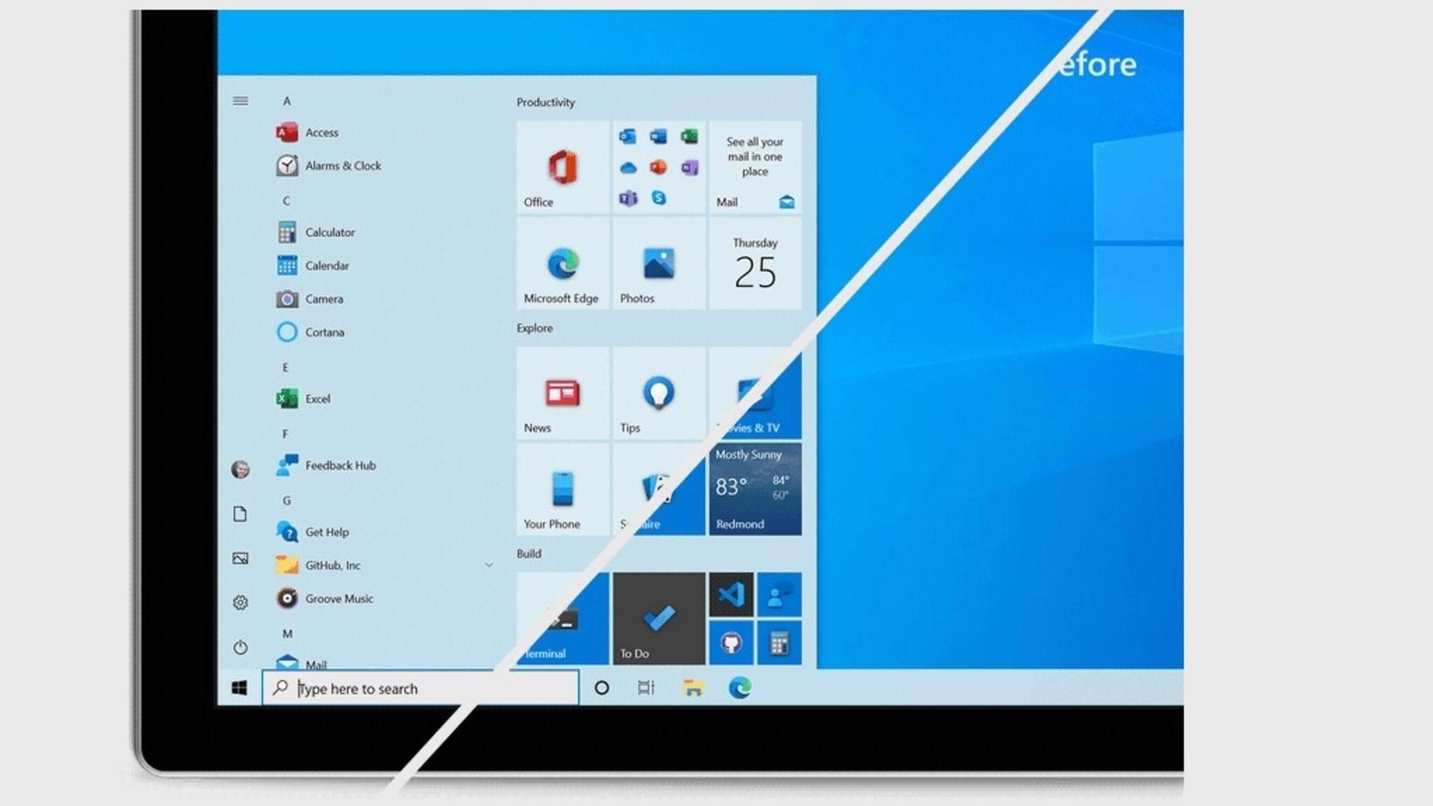 Der obere Teil des Bildes zeigt das überarbeitete Startmenü von Windows 10.