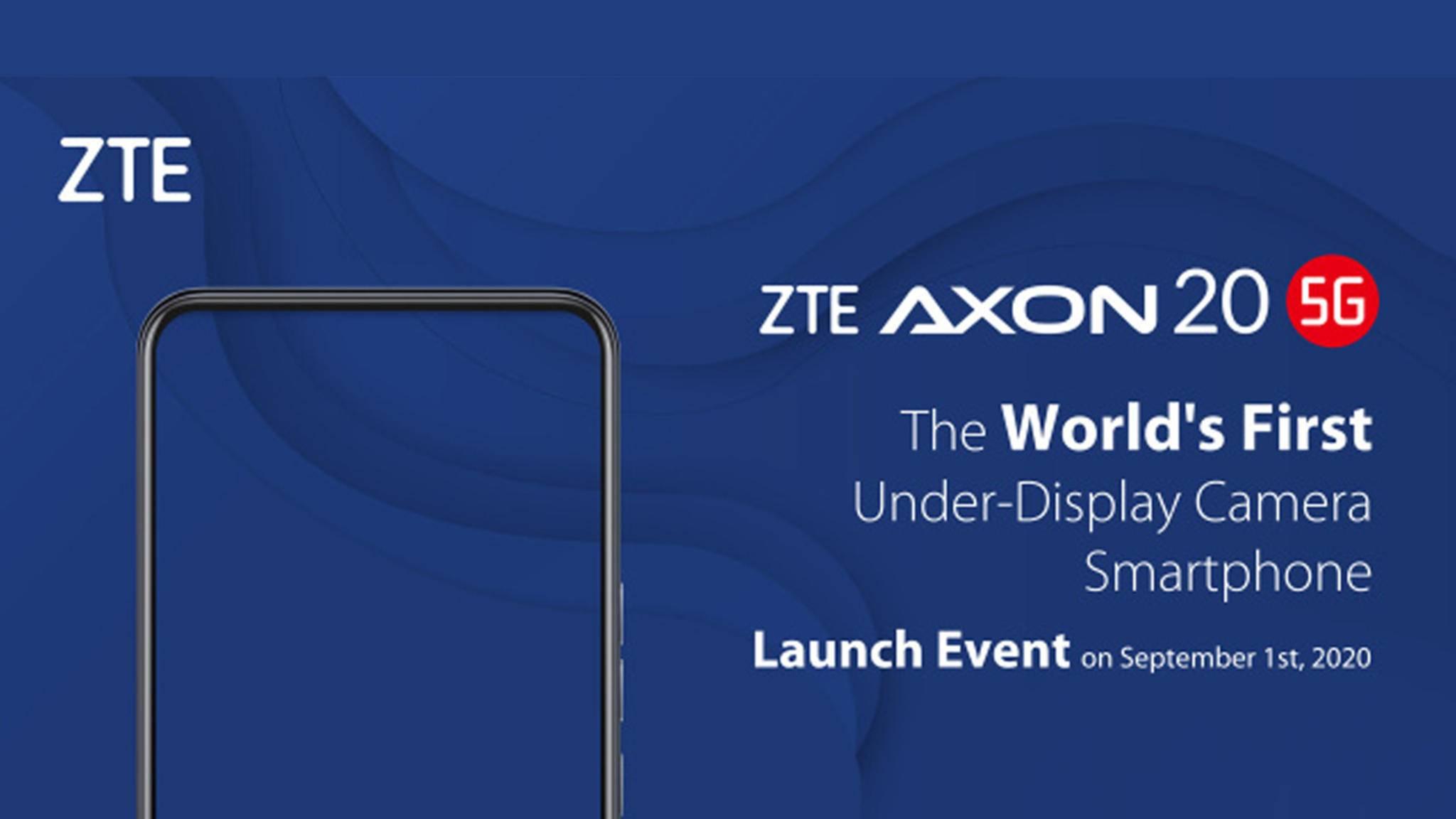 ZTE will am 1. September das erste Smartphone mit In-Display-Kamera vorstellen.