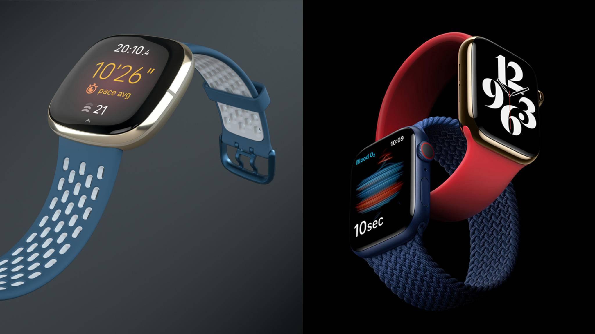 Die Sense (links) ist Fitbits Antwort auf die Apple Watch (rechts: Apple Watch Series 6 und SE).