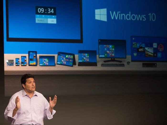 Microsoft-Manager Terry Myerson bei der Vorstellung der Technical Preview von Windows 10.