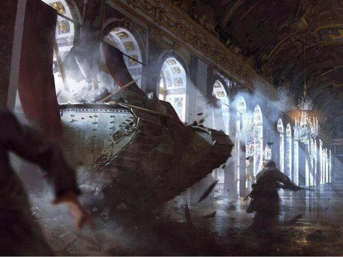 """""""Battlefield 1"""" spielt im Ersten Weltkrieg, hier geht's mit dem Panzer in den Spiegelsaal von Versailles."""