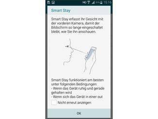 Smart Stay erkennt, wann Du auf den Screen schaust.