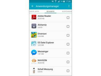 """Eine Übersicht über ausgelagerte Apps bietet der Reiter """"SD-Karte""""."""