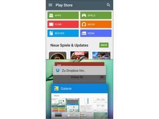 Die erste App öffnet oben, darunter können weitere ausgesucht werden.