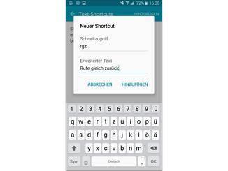 Praktisch: Shortcuts für Texte erstellen.