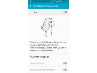 Zudem bietet das Galaxy S6 die Möglichkeit, in Notsituationen eine Nachricht zu senden.