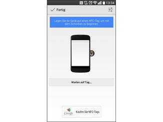 Nach dem Erstellen wird der Befehl auf den leeren NFC-Tag geschrieben.