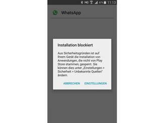Standardmäßig werden APK-Installationen von Android blockiert.