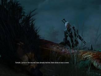 Geralt von Riva untersucht einen toten Greif.