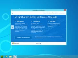 Auf mehreren Folien informiert Microsoft über das Update auf Windows 10.