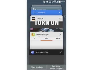 Unter Android 5.0 klappt das Multitasking über die Menü-Taste.