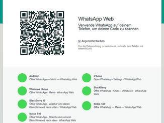 Im Browser wird ein QR-Code angezeigt, der mit dem iPhone eingescannt werden muss.