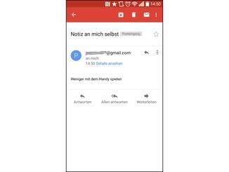 Notizen werden Dir automatisch als E-Mail bei Gmail zugeschickt.
