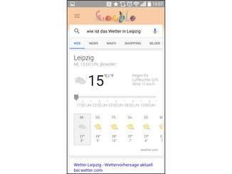 Auf Wunsch verrät Dir Google den Wetterbericht für Leipzig...