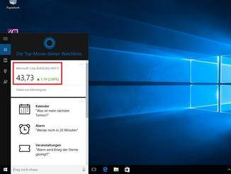 Auf diese Weise folgt Cortana beispielsweise dem Kurs der Microsoft-Aktie.