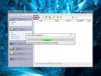 Nach dem Verbinden können die Daten über die entsprechende Schaltfläche synchronisiert werden.