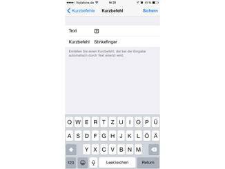 In das Textfeld wird das Symbol hineinkopiert und ein Shortcut angelegt.
