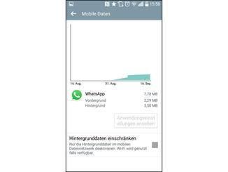 Eine Detailansicht zeigt, wann die App wie viele Daten verbraucht.