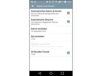 """Unter Android änderst Du das Datum unter """"Einstellungen > Datum und Uhrzeit""""."""