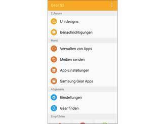 Die Gear-App dient als Schnittstelle zum Smartphone.