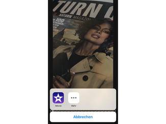 In dem Popup-Menü kann dann die App iMovie ausgewählt werden.