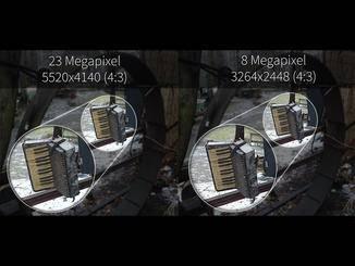 Die Auflösung kann in der Kamera-App auf 23 MP hochgedreht werden.