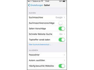 Die Suchmaschine in Safari kann verändert werden.