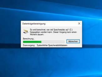 Zunächst sucht Windows nach überflüssigen Daten.