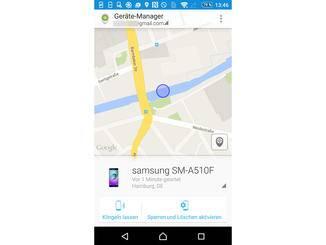 Über die App Android Geräte-Manager können Geräte geortet werden.