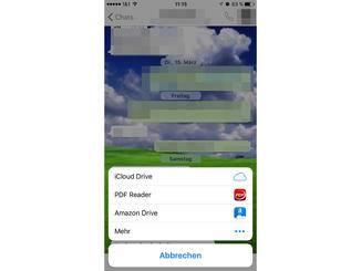 Zur Auswahl stehen diverse Dienste, die bereits auf dem iPhone installiert sind.