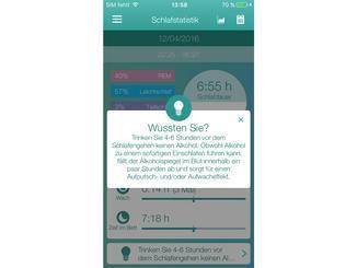 Zudem gibt die App einige Basis-Tipps für besseren Schlaf.