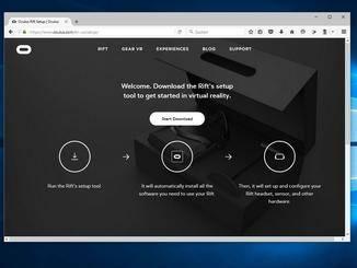 Über eine Website wird der Oculus-Client zur Kalibrierung der Brille heruntergeladen.