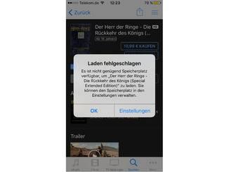 Diese Meldung erscheint, wenn der Film zu groß für Dein iPhone ist.