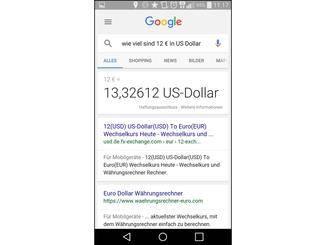 Währungen rechnet Google ebenfalls um.