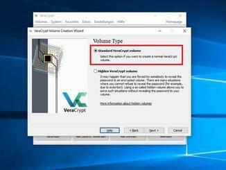 """Als nächstes wird die Auswahl """"Standard VeraCrypt Volume"""" gewählt..."""