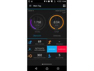 Die Startseite der Garmin-App gibt einen Überblick über den aktuellen Tag.
