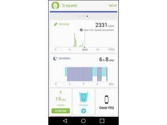 S Health liefert umfangreiche Daten, die von der Gear Fit 2 erfasst werden.