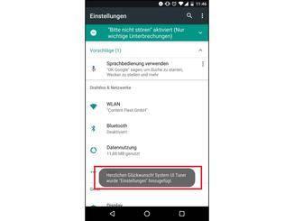 Mit dieser Nachricht informiert Android über die Freischaltung des Tuners.