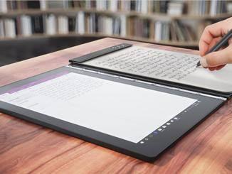 Das Lenovo Yoga Book kombinierte schon im Jahr 2016 zwei Touchbildschirme.