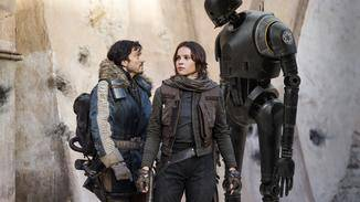 Rogue One: A Star Wars Story _ Cassian Andor (Diego Luna), Jyn Erso (Felicity Jones), K-2SO (Alan Tudyk)