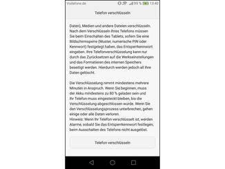 Vor dem Verschlüsseln gibt Android dem Nutzer noch einige Hinweise.