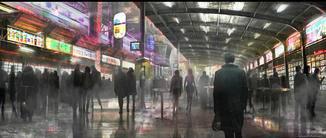 Wieder sind gefüllte Straßen einer dystopischen Zukunft zu sehen.