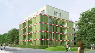 Bioreaktor: Das Haus mit Biointelligenzquotient (BIQ) steht in Hamburg. Es besitzt für die Energieversorgung 130 Glaskollektoren.