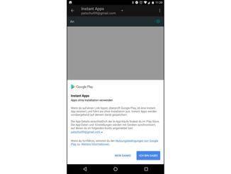 Eine Mitteilung zeigt an, dass Du die Instant Apps verwenden kannst.