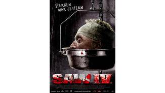 Plakat zum vierten Saw-Teil.