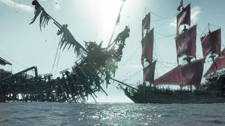 "Salazars ""Silent Mary"" attackiert Barbossas ""Queen Anne's Revenge"""