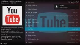 """Unter """"Video add-ons"""" findest Du sehr weit unten in der Liste auch YouTube."""
