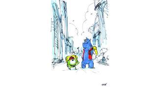 "Scribble: Handgezeichnete Szene aus dem Film ""Die Monster AG""."
